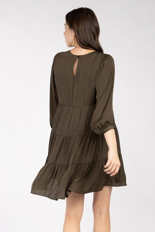 Lailah Tiered Mini Dress - Olive
