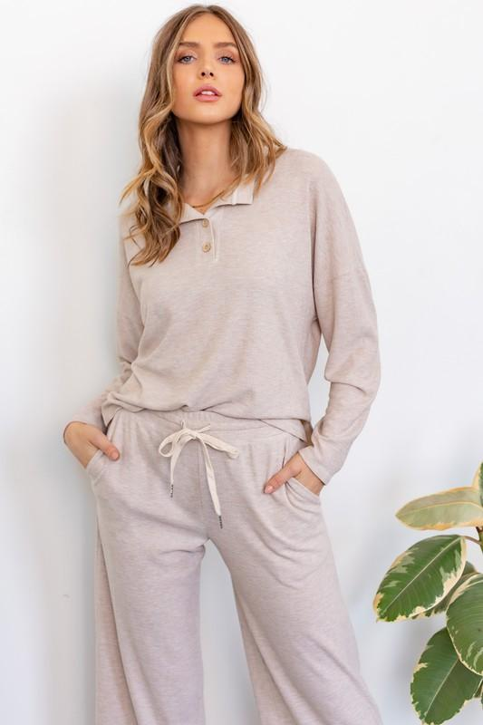 Heidi Long Sleeve Top and Wide Leg Pant Knit Set