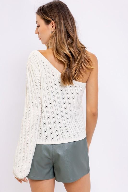 Cosette One Shoulder Knit Sweater Top