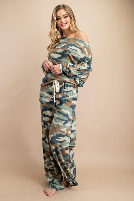 Emi Off Shoulder Camouflage Lounge Top (Matching Pants sold separately)