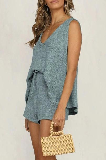 Quincey Knit Tank Top and Short Set - Blue
