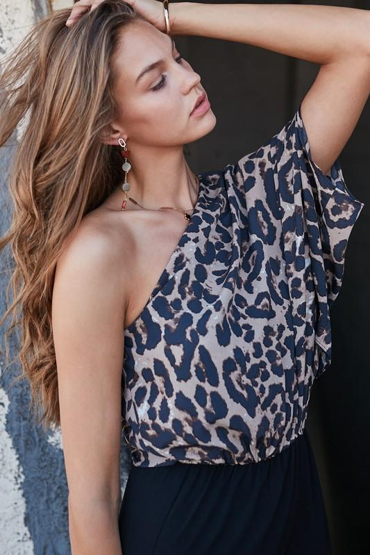 Vera One Shoulder Cheetah Print Jumpsuit