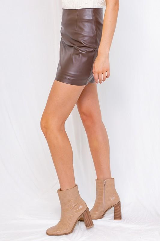 Lula Faux Leather Mini Skirt - Brown