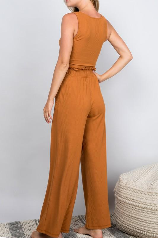 Miya Knot-Front Crop Top and Pant Set - Burnt Orange