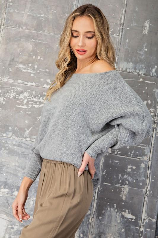 Eloise Off the Shoulder Ribbed Sweater - Grey