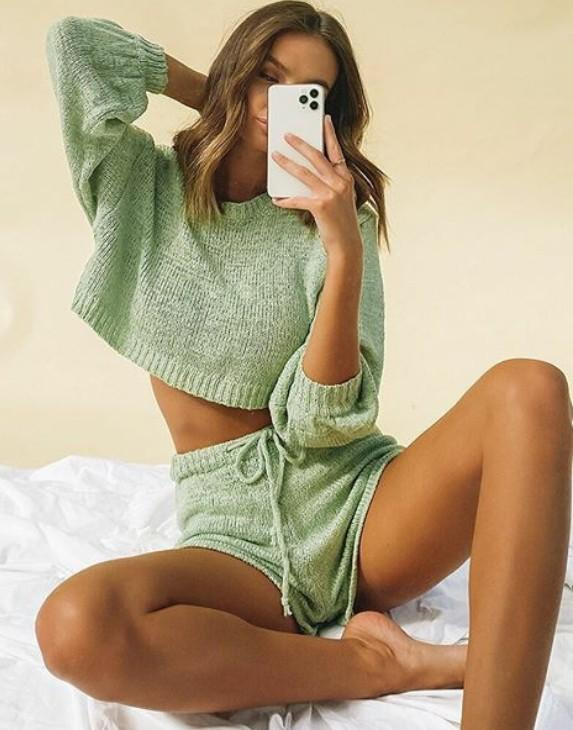 Hensley Knit Long-Sleeve Sweater with Shorts Set - Green
