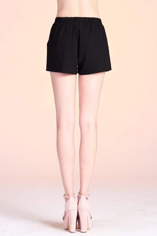 Caterina Solid Black Shorts