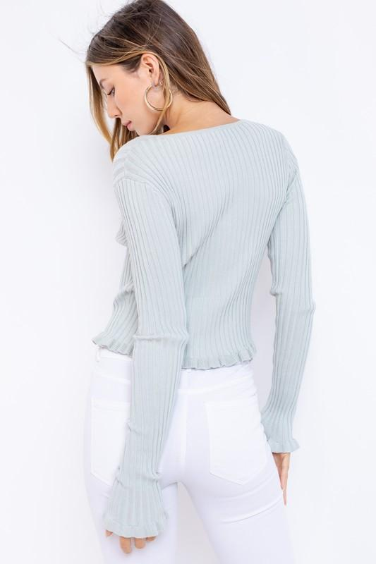 Cleotha Long-Sleeve Ruffle Detail Knit Top - Sage