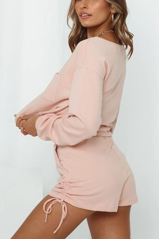 Mikele Long Sleeve Shirt and Shorts Set - Peach