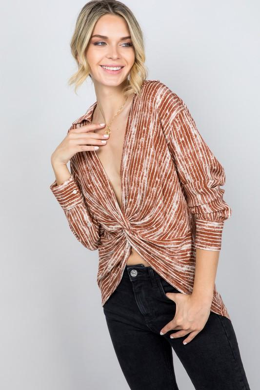 Gabrela Printed Top with Knot-Front Detail