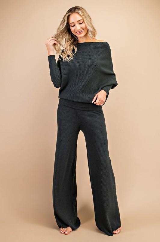 Winslow Long Sleeve Top and Pant Set - Black
