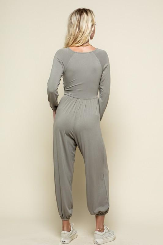 Phoebe Long Sleeve Jumpsuit with Front Drawstring