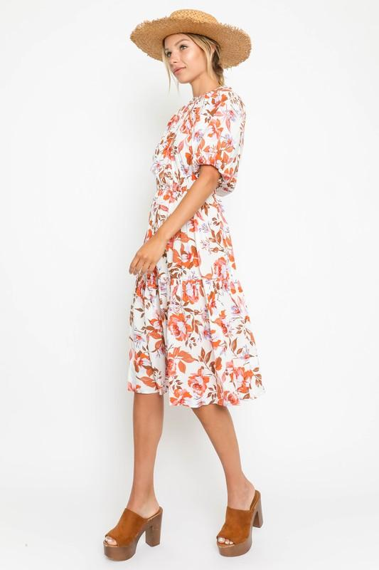 Autumn Printed Midi Dress