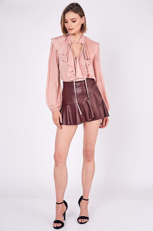 Zoe Mini Ruffle Skort - Wine