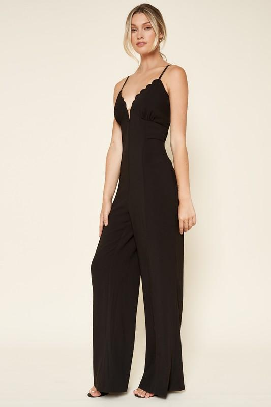 Alva Scallop Jumpsuit with Plunging V-Neck