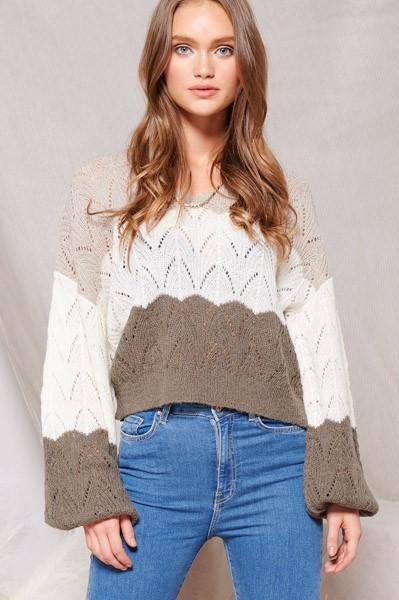 Lola Charcoal Color Block Knit Sweater