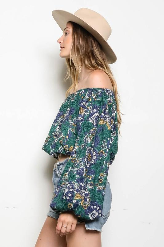 Viviana Off the Shoulder Floral Print Top with Bubble Sleeves