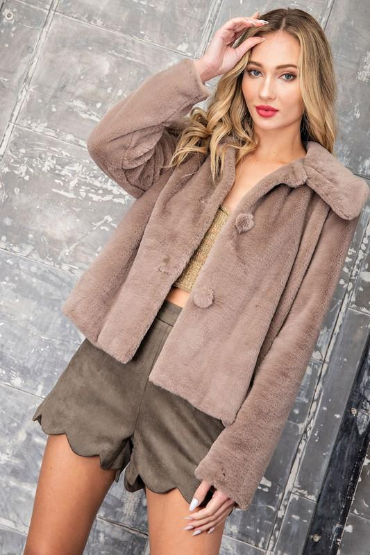 Amaya Furry Button Up Coat