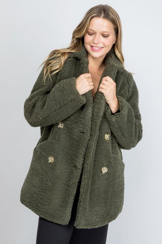Laken Button Closure Fuzzy Coat