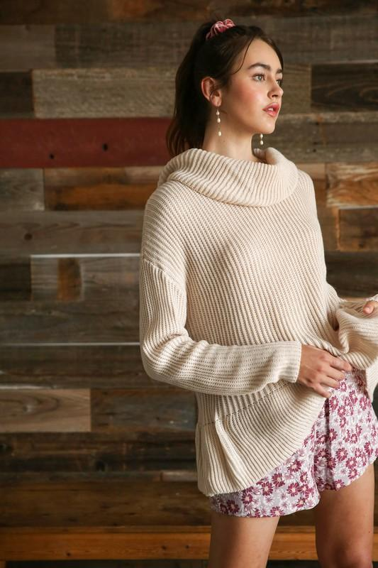Willow Turtleneck Pullover Sweater - Cream