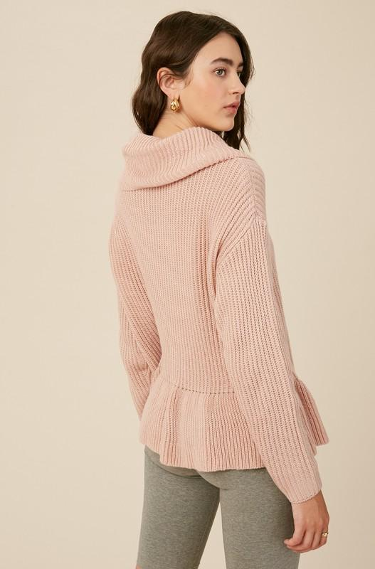 Willow Turtleneck Pullover Sweater - Blush
