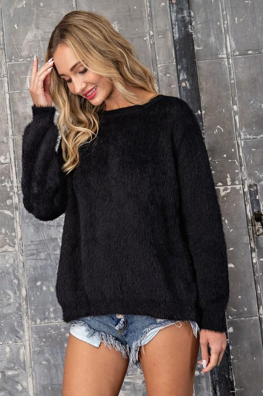 Emmeline Tie Back Sweater Top - Black