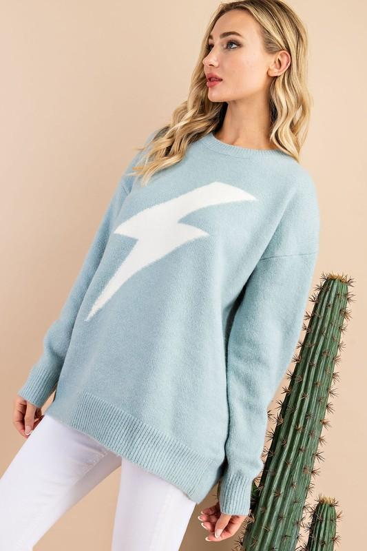 Margo Thunder Bolt Print Knit Sweater