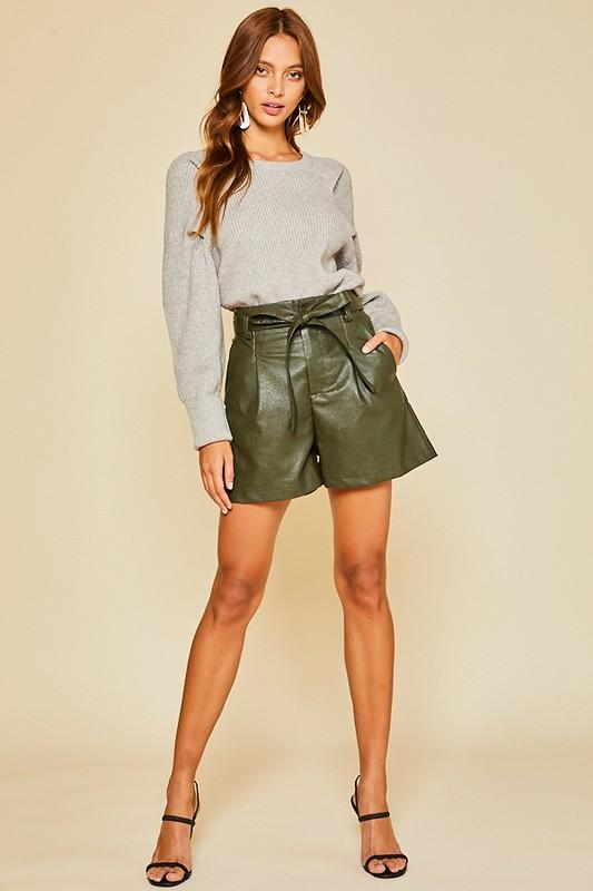 Aila Faux Leather Belted Shorts - Olive