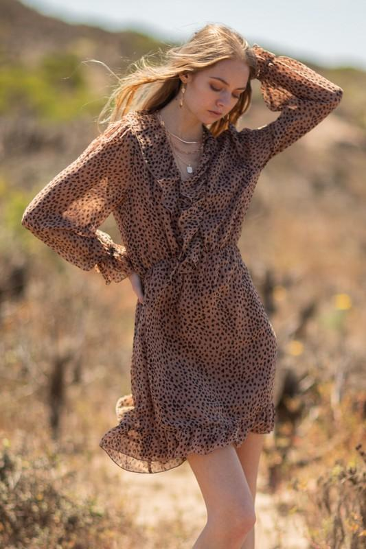 Michelle Leopard Print Long Sleeve Mini Dress