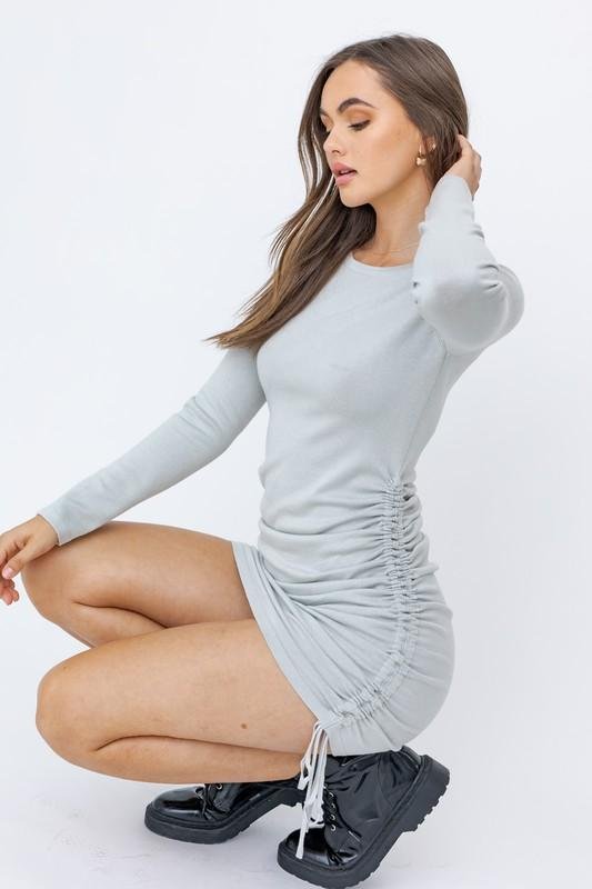 Corena Long Sleeve Ruched Detail Mini Dress - Sage
