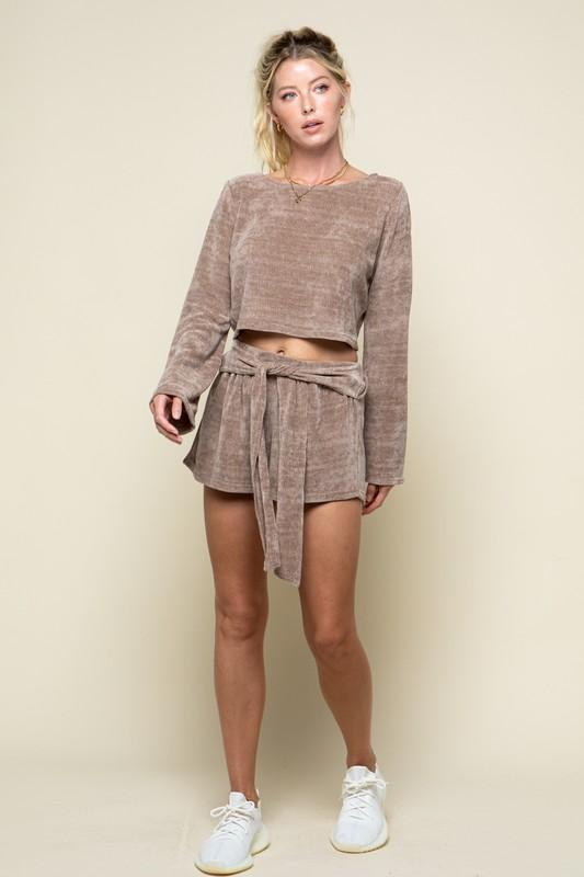 Olyvia Long Sleeve Top and Shorts Set - Taupe
