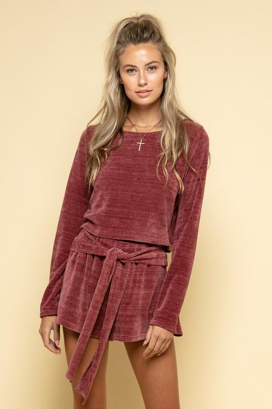Olyvia Long Sleeve Top and Shorts Set - Deep Rose