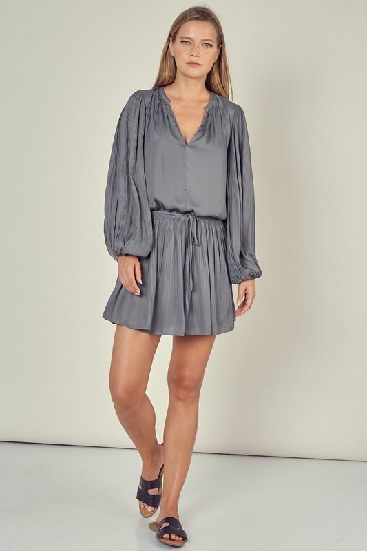 Wilma Long Sleeve Pleated Dress - Ash Olive