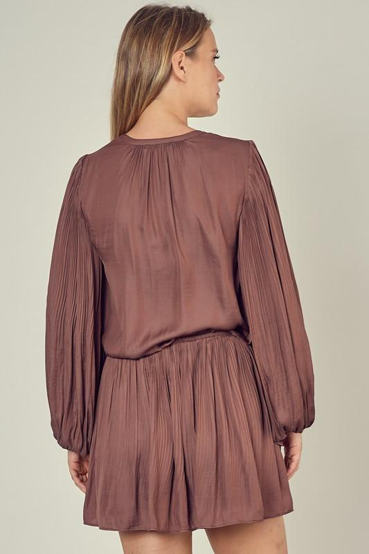 Wilma Long Sleeve Pleated Dress - Truffle