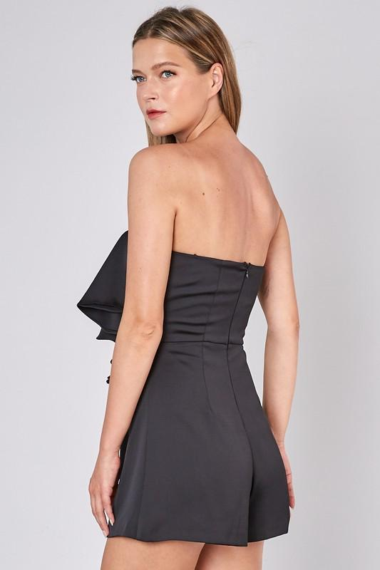 Alessia Open-Shoulder Romper - Black