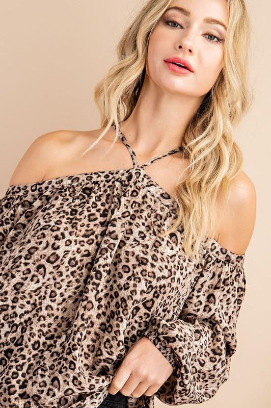 Francesca Leopard Print Cold-Shoulder Halter Top