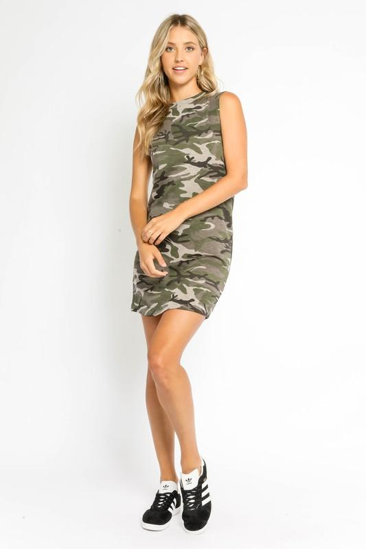 Marcie Camouflage Print Mini Dress