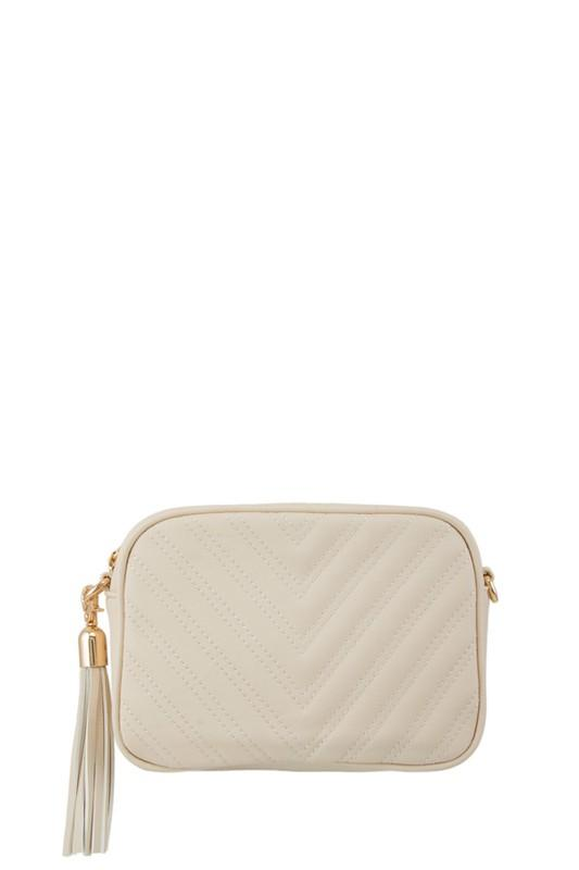 Regan Quilted Crossbody Mini Bag - Beige