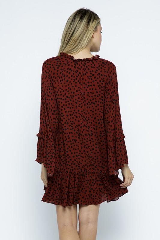 Toria Wine Polka-Dot Dress