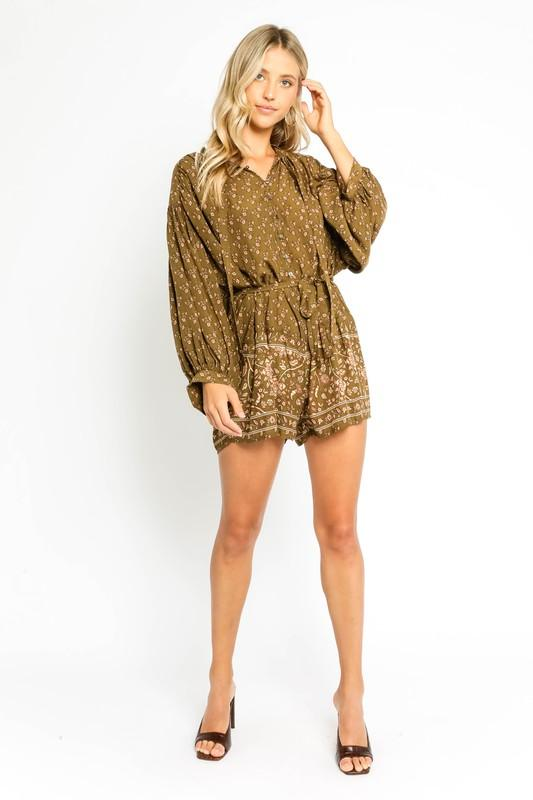 Silvie Printed Long-Sleeve Romper