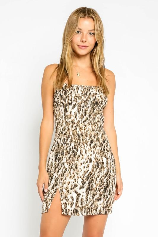 Viveca Leopard Print Slip Dress