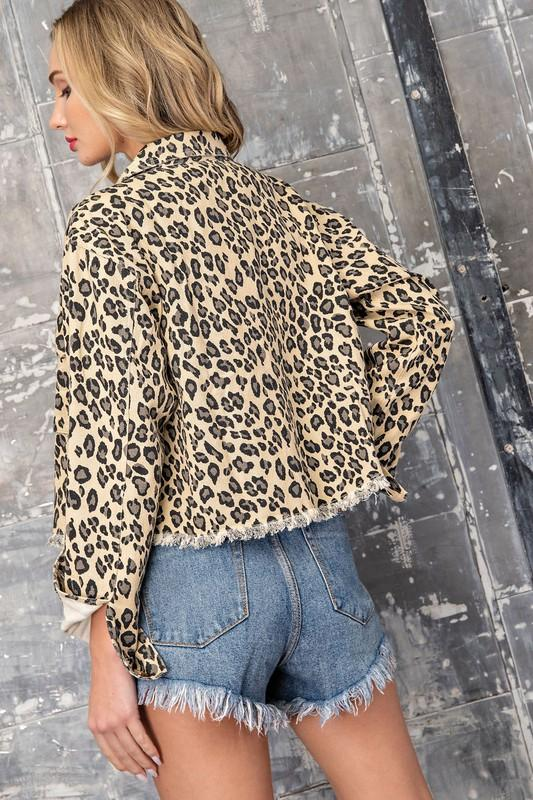 Gigi Leopard Print Cropped Denim Jacket