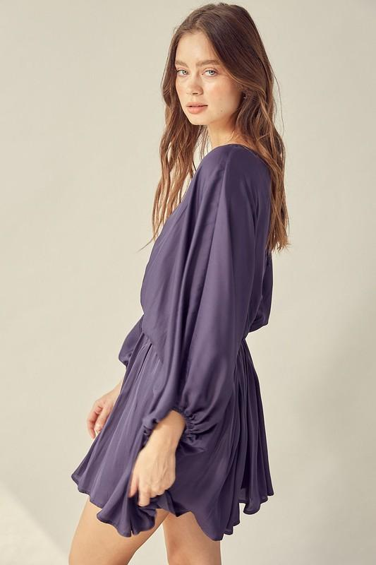 Evie Open Back Wide-Sleeve Dress - Midnight
