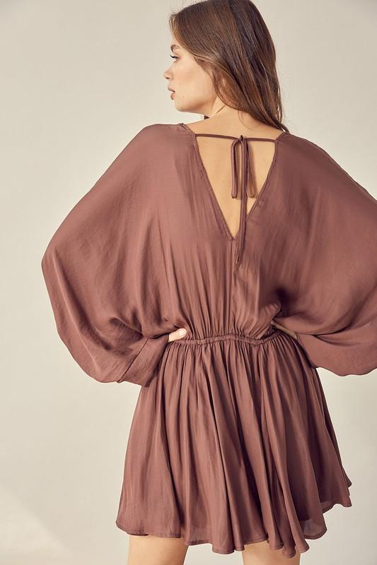 Evie Open Back Wide-Sleeve Dress