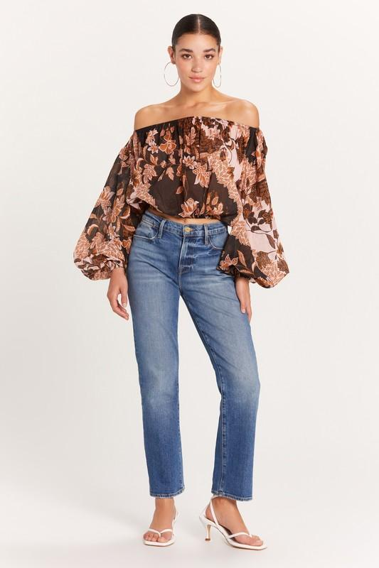 Caroline Printed Off the Shoulder Blouse