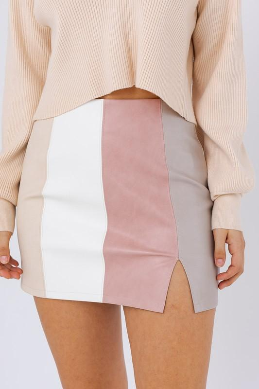 Sylvy Color Block Faux Leather Skirt - Blush