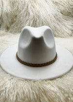 Florence Leather Trim Fedora Hat
