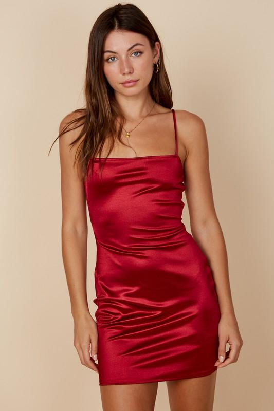 Dee Bodycon Mini Dress with Cut-Out Back - Red