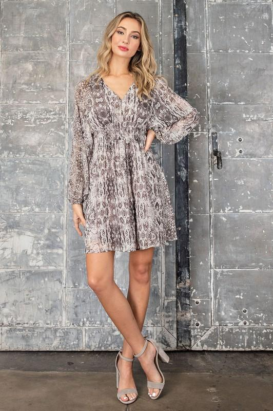 Liza Python Print V-Neck Mini Dress