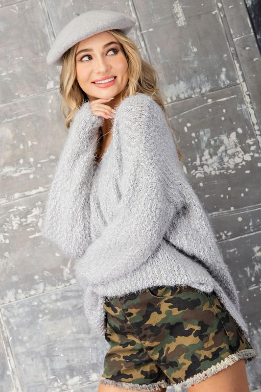 Adelyn Knit Sweater - Grey